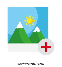picture with mountains and sun scene with pluss symbol flat style icon
