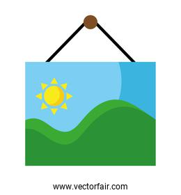 picture with sea waves and sun seascape scene hanging flat style icons