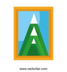 picture with mountains scene flat style icon
