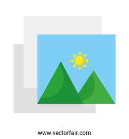 pictures with mountains and sun scene style flat icons