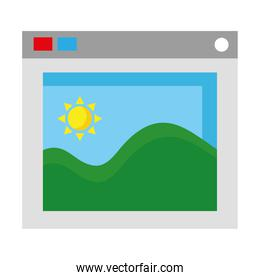 picture with sea waves and sun seascape in webpage template flat style icons