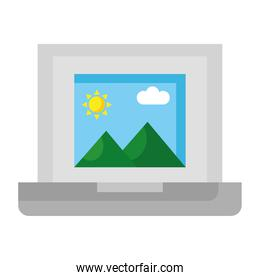 picture with mountains and sun scene in laptop flat style icon