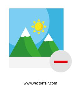 picture with mountains and sun and minus symbol flat style icon