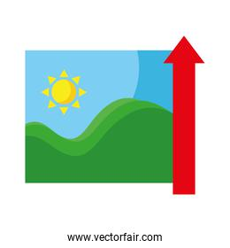 picture of sea waves and sun seascape with arrow up flat style icons