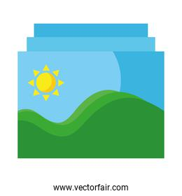 pictures with sea waves and sun seascape scene flat style icons