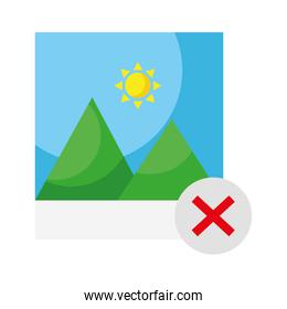 picture with mountains and sun and x symbol flat style icon
