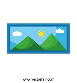 picture long with mountains and sun scene flat style icon