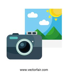 camera with picture with mountains and sun scene flat style icon