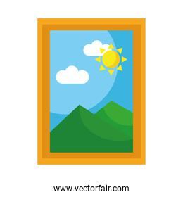 rectangular picture with mountains and sun scene flat style icon
