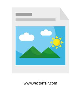 picture with mountains and sun in paper flat style icon