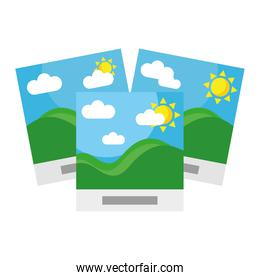 pictures with sea waves and sun seascape scene flat style
