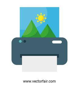printer printing picture with mountains and sun scene flat style icon
