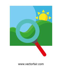 picture of sea waves and sun seascape scene with magnifying glass flat style icons