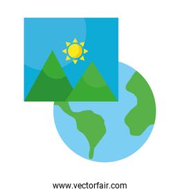 picture with mountains and sun scene and planet earth flat style icon