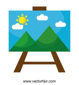 picture with mountains and sun scene in tripod flat style icon