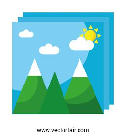 pictures with mountains and sun flat style icons