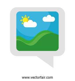 picture with sea waves and sun seascape in speech bubble flat style