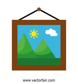 picture with mountains and sun scene hanging flat style icon