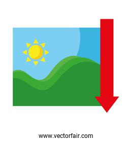 picture of sea waves and sun seascape with arrow down flat style icons
