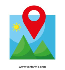picture with mountains and sun scene and pin location flat style icon