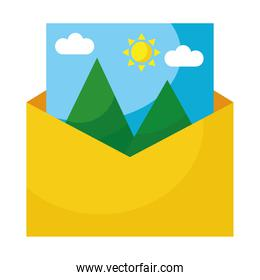 picture with mountains and sun scene in envelope flat style icon