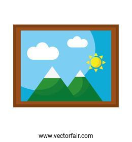 picture with mountains and sun scene flat style