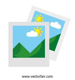 two pictures with mountains and sun scene flat style icons
