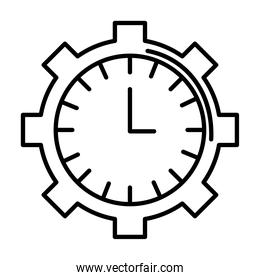 time clock watch analog in gear line style icon