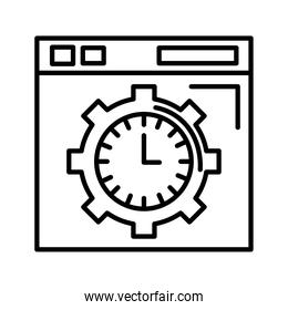 time clock watch analog in gear and template line style icon
