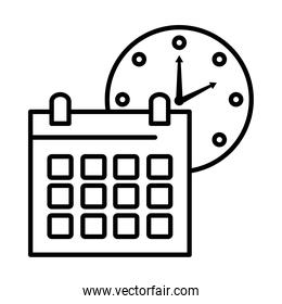 time clock watch analog with calendar line style icon