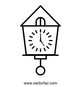 time clock watch analog in house with pendulum line style icon