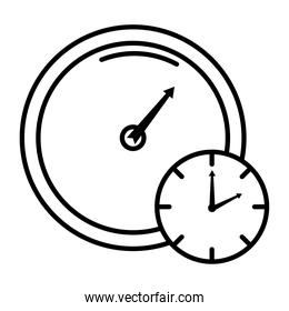 time clock analog with gauge style line icon