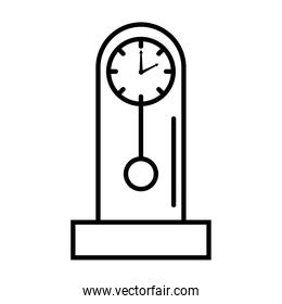 time clock analog with pendulum line style icon