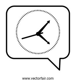 time clock watch analog in speech bubble line style icon