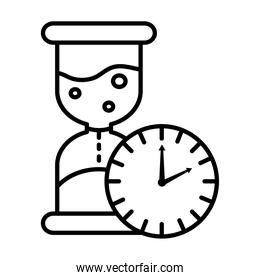 time clock watch analog and hourglass line style icon