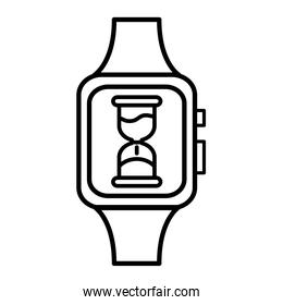 hourglass time counter in wristwatch line style icon