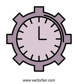 time clock watch analog in gear line and fill style icon