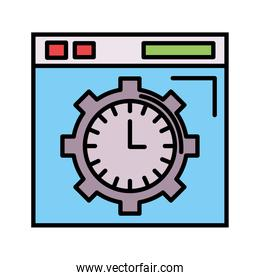 time clock watch analog in gear and template line and fill style icon