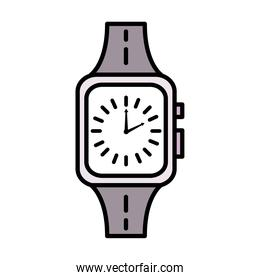 time clock wristwatch line and fill style icon