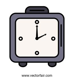 time clock watch analog alarm square form line and fill style icon