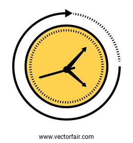time clock watch analog with arrow around line and fill style icon