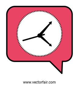 time clock watch analog in speech bubble line and fill style icon