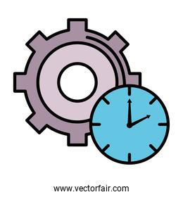 time clock watch with gear line and fill style icon