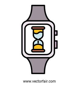 hourglass time counter in wristwatch line and fill style icon