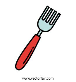 fork kitchen cutlery line and colors style icon