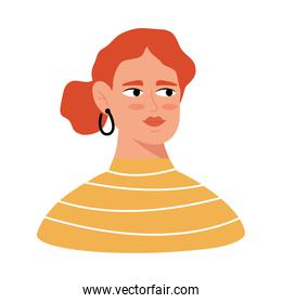 young woman with orange hair color avatar character