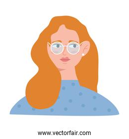 young woman with blond hair and eyeglasses avatar character