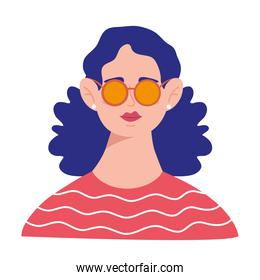 young woman with blue hair and sunglasses avatar character