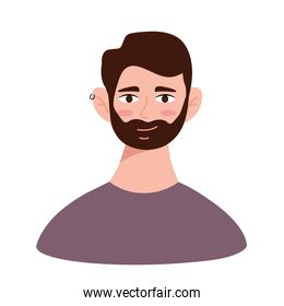 young man with beard avatar character icon