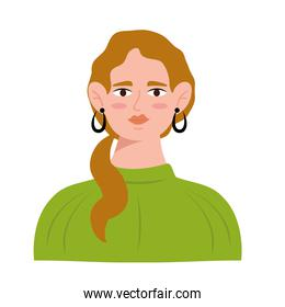 young woman with blond hair avatar character icon